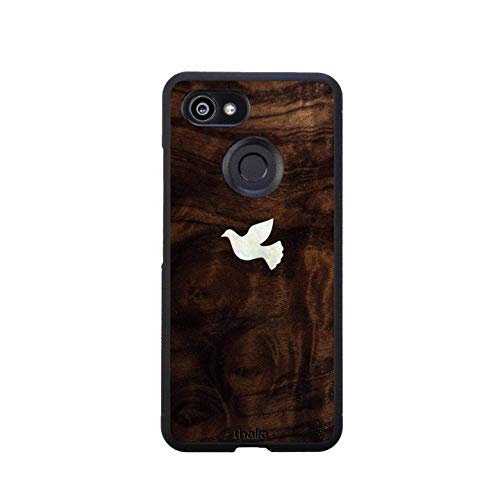 Walnut Burl Exotic Wood | Dove Mother of Pearl Inlay | Google Pixel 3 Phone Case by Thalia