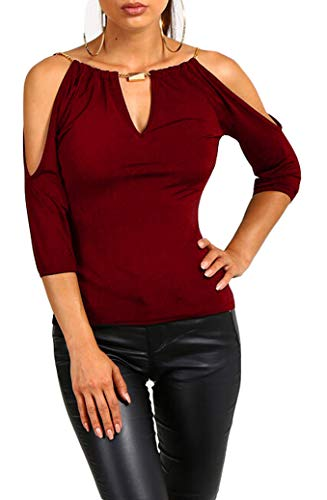 - USGreatgorgeous Women's Open Cold Shoulder Slim Fit Short Sleeve Tee Shirt Casual Blouse Tops (Red, X-Large)