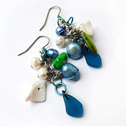 Blue Green Silver Cultured Sea Glass & Pearl Cluster Dangle Earrings - Handmade Wire Wrapped Drop Earrings - Valentine's Day Gift, Mother's Day Gift, Gift for Women - Stainless Steel, Hypoallergenic