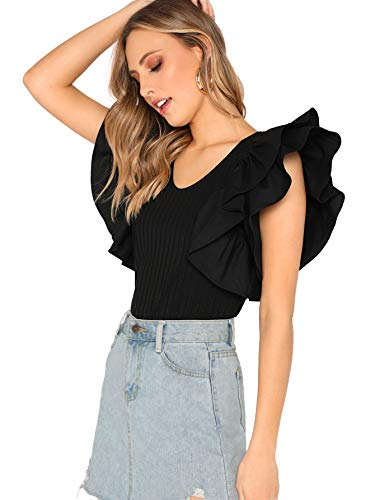 Romwe Women's Layered Ruffle Short Sleeve Slim Fit Elegant Blouse Tops Black Medium
