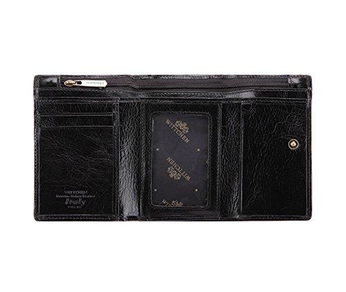 337 1 Schwarz WITTCHEN Handmade 8 Kollektion Narbenleder 5 5x12 21 1 Italy cm Brieftasche wq7CRw4