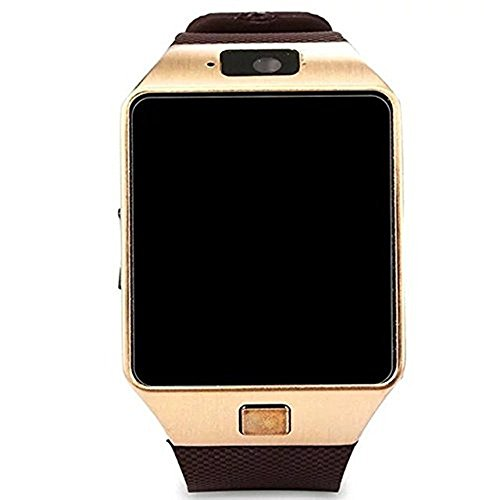 Hipipooo-DZ09 Bluetooth Smart Watch with SIM Card Slot Make Phone Calls 2.0MP Camera Support Message Notification TF Card Pedometer Sleep Monitor Compatible with Android and iOS System (Gold)