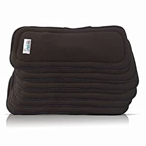 Cloth Diaper Inserts in Charcoal Bamboo (5 Layer) by AngelicWare (6 Pack, Plain)