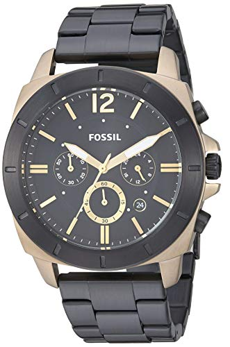 Fossil Gold Mens Bracelets - Fossil Men's Quartz Stainless-Steel Strap, Black, 24 Casual Watch (Model: BQ2196)