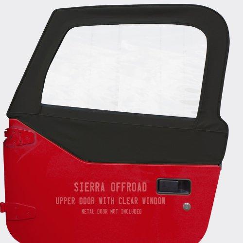 Sierra Offroad Jeep Wrangler TJ (1997-2006) Denim Upper Door Skins with Clear Windows (sold in pairs), Black
