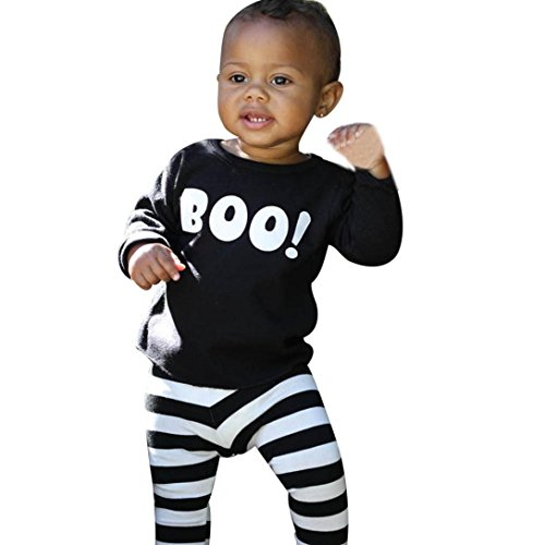 Cheap Halloween Outfit (Sharemen Kids Infant Baby Boy Print Top + Striped Long Pants Halloween Outfits Set (18-24Months, Black))