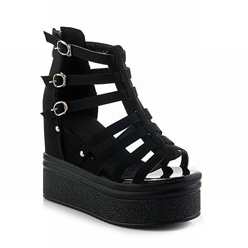 Carol Schoenen Mode Dames Gesp Gladiator Stijl Charmes Chique Zip Platform Hoge Hak Wiggen Sandalen Zwart