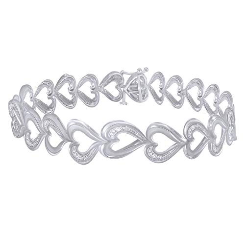 Trillion Jewels 0.10 CT (Clarity I1-I2/Color I-J) Natural Diamond 14K White Gold Fn Heart Link Bracelet