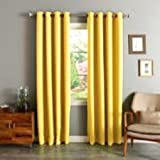 "Gorgeous Home (#60) 1 PANEL SOLID BRIGHT YELLOW THERMAL LINED FOAM BLACKOUT HEAVY THICK WINDOW TREATMENT CURTAIN DRAPES SILVER GROMMETS (63"" LENGTH)"