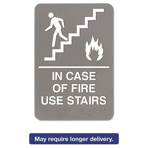 ADA Sign, 6 x 9, In Case of Fire Use Stairs, Gray (Use Stairs)