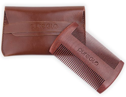 Red Sandalwood No Static Beard Comb, Pocket Hair Comb – Best Handmade Comb with Fine/Coarse Tooth – Premium Leather Case and Gift Box Included