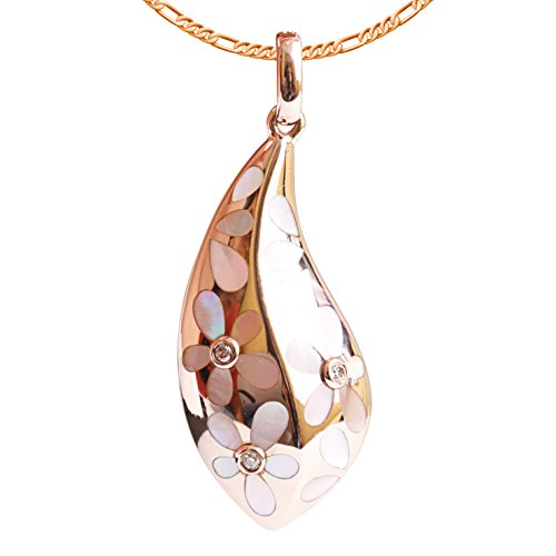 9K High Polished Rose Gold with White-Pink Pearl and 0.02ct Diamond Beautiful Pendant