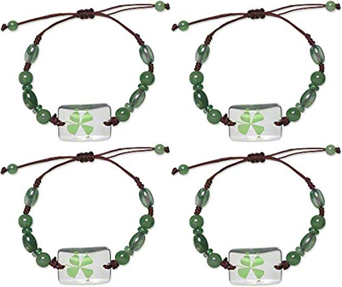 Bracelet Beaded Irish (Real Four Leaf Clover Green Shamrock Bracelets Good Luck St Patrick's Day Jewelry - Set Of 4)