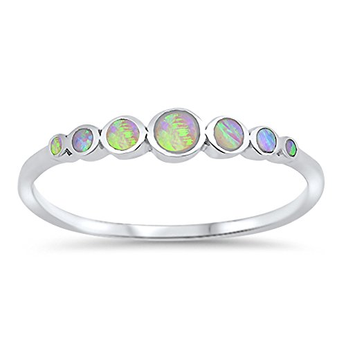 Round Circle Pink Simulated Opal Journey Ring New .925 Sterling Silver Band Size 8