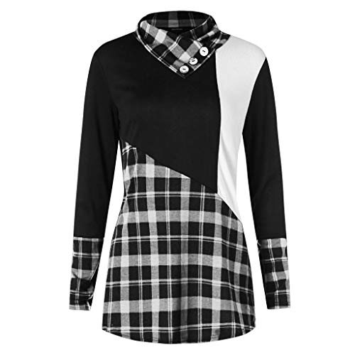 Blouses for Womens,DaySevevnth Women Top Long Sleeve Button Contrast Tartan Pullover Knitwear Blouse WH/XXL