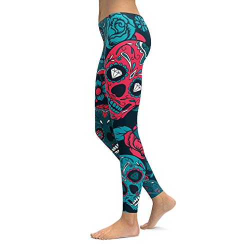 sissycos Women's Rose Skull Printed Capris Pants Leggings Ankle Length Elastic Tights (Red Blue Skull, Small) -