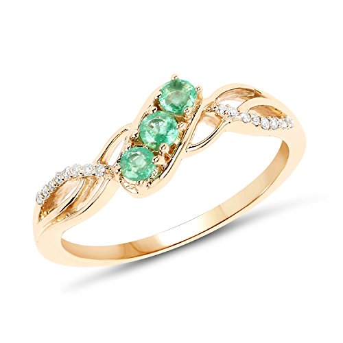 14k Gold Emerald & Diamond Ring - 14K Yellow Gold Emerald & White Diamond Ring (0.28 ctw, I-J Color, I2-I3 Clarity) from Johareez