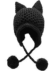 Bellady Winter Cute Cat Ears Knit Hat Ear Flap Crochet Beanie Hat