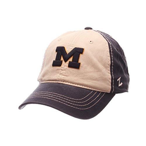 Zephyr NCAA Michigan Wolverines Men's Sigma Relaxed Cap, Stone/Navy, -