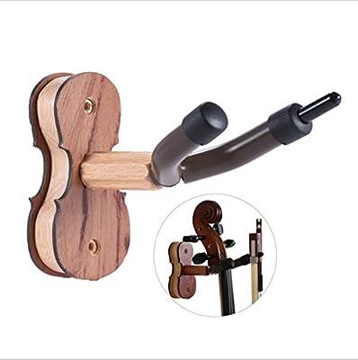 Violin Hanger with Bow Hanger?Jinli Violin Wall Mount Hanger Holder Rack Stand, Hardwood Home and Studio Wall Hanger Hook Holder For Guitar & Ukulele & Violin