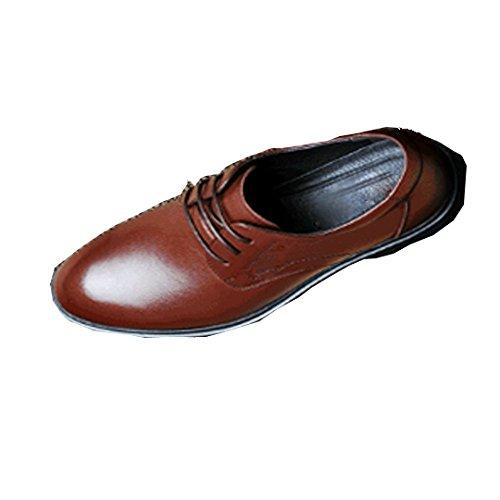 NIUMJ Haut De Gamme Hommes Chaussures en Cuir Automne Et Hiver Pointu Affaires Loisirs Chaussures Britanniques Chaussures à Lacets Tendance Brown FiamVOiEt