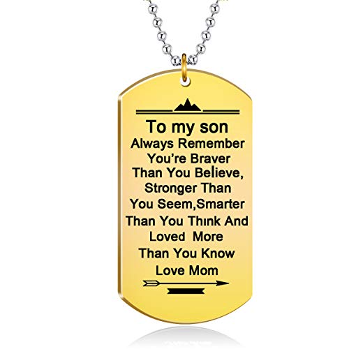 danjie Stainless Steel Dog Tag Letters to My Son.Love mom Pendant Necklace,Inspirational Gifts for Son Jewelry (Nkc043, Gold-Plated-Stainless-Steel)