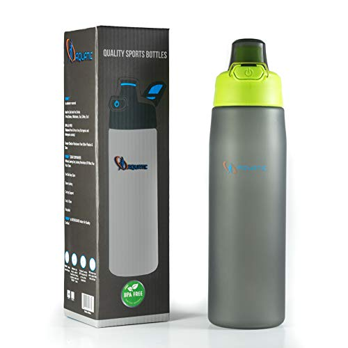 Sports Water Bottle-25oz-Tritan 100 % BPA free-Secure Lock-Best Frosted Design-One Click Easy Open-Non Toxic Durable,Clear and Safe Plastic-Indoor/Outdoor Sports:Fitness,Yoga,Camping,Hiking&Cycling