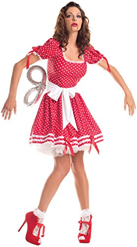 Costume Wind Up Doll Key (Party King Women's Plus Size Wind Up Doll Costume Set, Red, 3X)