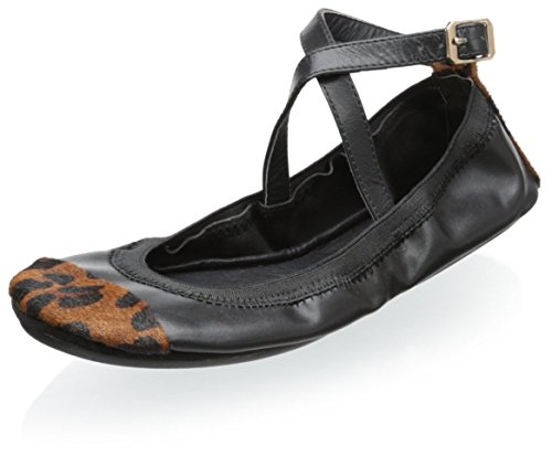 Yosi Samra Women's Maya Two Tone Crossover Ankle Strap Flat, Black/Dark Leopard, 7 M US