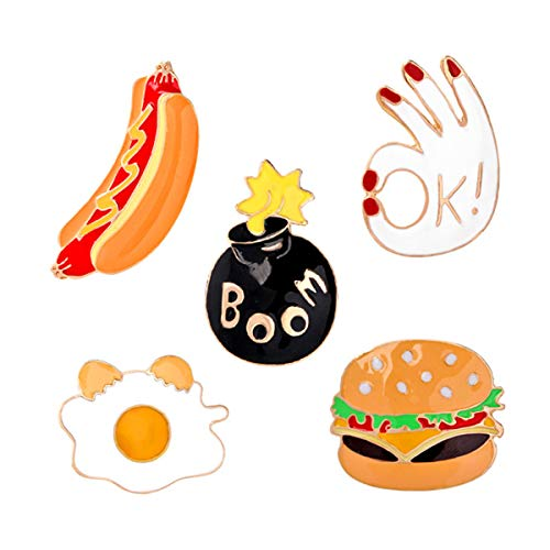 YeahiBaby 5 Pcs Brooch Alloy Sweater Brooch Cute Hamburger Hot Dog Party Breastpin Clip Cardigan Brooch Clip Corsage Gift Costume Accessories Gift -
