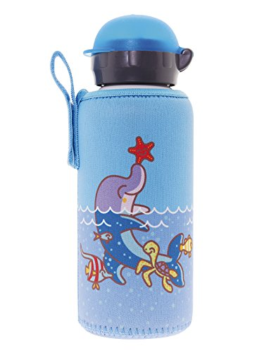Laken Kids Aluminum Water Bottle with Leak-Proof Hit Sport Cap and Neoprene Cover, 15 Ounce Dolphin