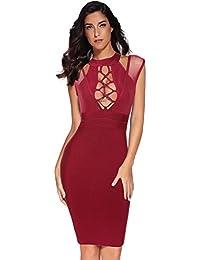 Women Lace Up Bandage Dress Party Club Bodycon Midi Dress