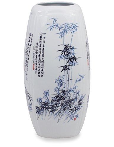 Dahlia Four Nobles Famille Rose Oriental Porcelain Flower Vase, 12 Inch Squarish Vase, Blue