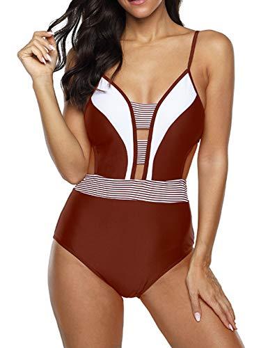 Anguang Womens Plunge V-Neck Halter One Piece Swimsuit Swimwear Cutout Monokini Bathing Bikini Suit Wine L