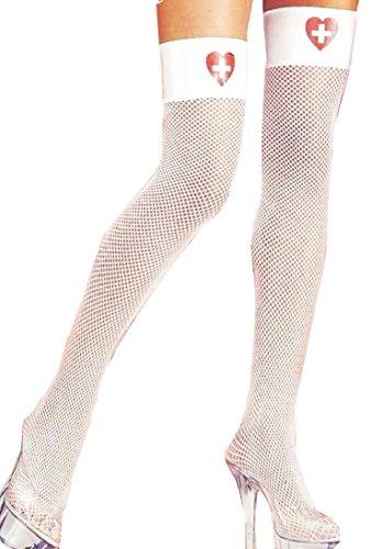 Hospital Honey (Forum Novelties Women's Hospital Honey Costume Fishnet Thigh Highs, White/Red, One Size)