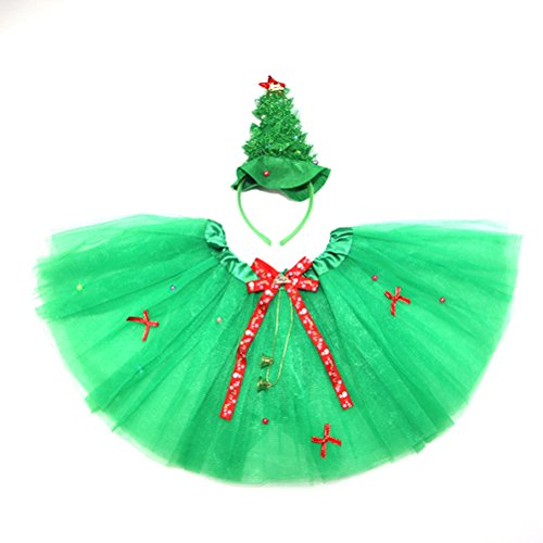 BESTOYARD Christmas Tree Costume Princess Fairy Costume Set with Headband Tutu Skirt Girls Ages 3-6 ,2PCS - Make Christmas Tree Costume