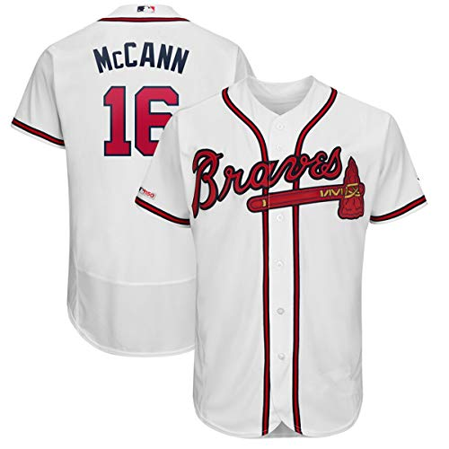 VF LSG Men's Atlanta Braves #16 Brian McCann Flex Base Player Jersey White ()