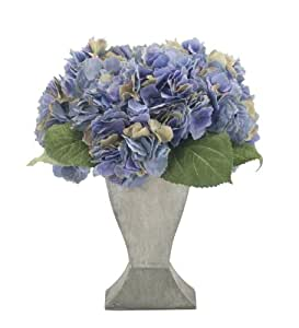 FAB Flowers French Blue Hydrangea Blooms in Pewter Vase the Perfect Gift, 11 Inches Length x 12 Inches High