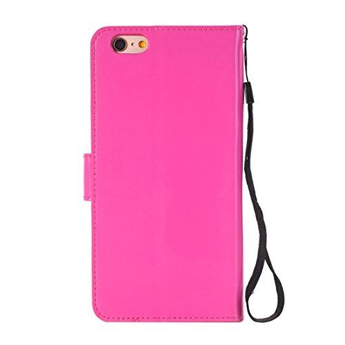 Protege tu iPhone, Para el iPhone 6 más la caja horizontal del tirón TPU + PU con el sostenedor y CardSlots y la carpeta Para el teléfono celular de Iphone. ( Color : Oro ) Magenta