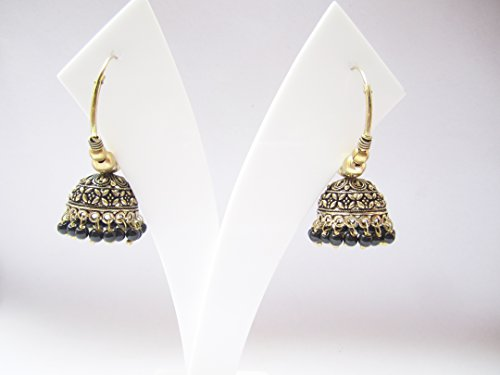 Imitation Antique gold Oxidize Jhumki Earring/Antique black golden Tone jhumkas with black beads drops/indian bali jhumki/bollywood jhumka/indian (Tone Bead Drop)