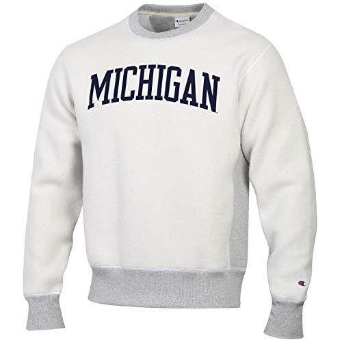 Champion Men's NCAA Inside Out Reverse Weave Crew Sweatshirt-Michigan Wolverines-Large