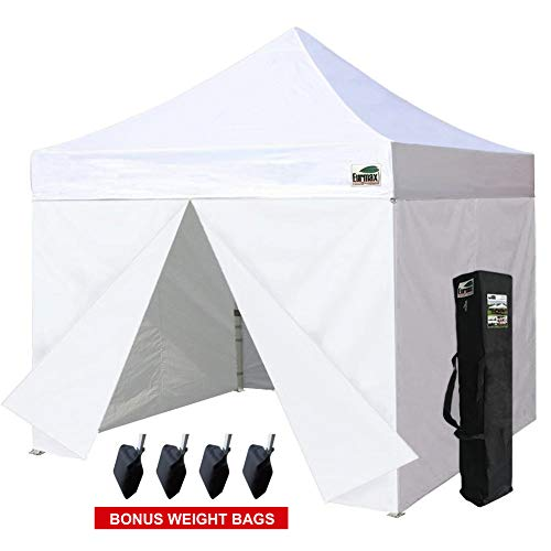 Eurmax Basic 5 X 5 Pop up Canopy Steel Outdoor Tent with 4 Zipper Sides and Carry Bag, Amber-2