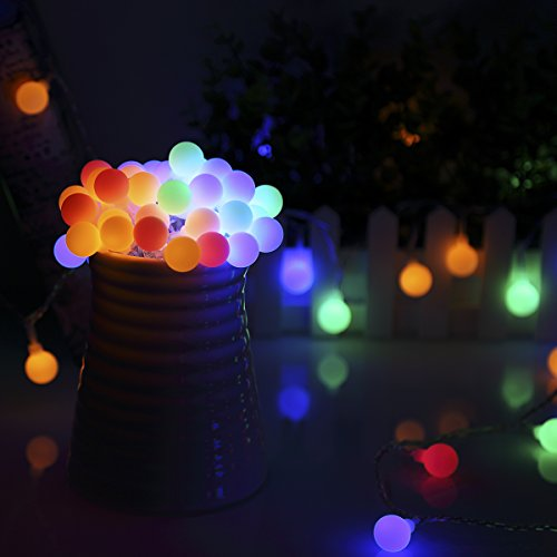 B-right Outdoor Globe String Lights, 100 LED 43.6ft Waterproof String Balls with 8 Modes Remote & Timer, 29V Safety Output UL Listed Power Adapter, Multi-Color by B-right (Image #1)
