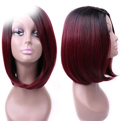 Peony red Ombre Pink/Blonde/Grey Short Straight Wig Cosplay Or Party Wigs GBL16103 14inches ()