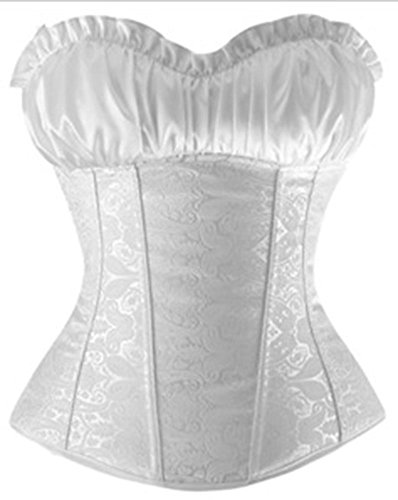 PULABO Women's Lace Up Pattern Boned Bustier Overbust Wedding Bridal Corset Blanco