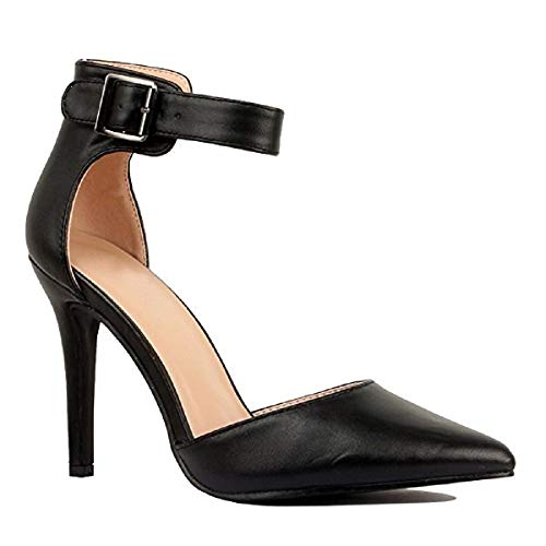 Women's Ankle Strap Stiletto Pumps Pointed Toe Dress D'Orsay High Heel Summer Wedding PU Shoes Black 8.5