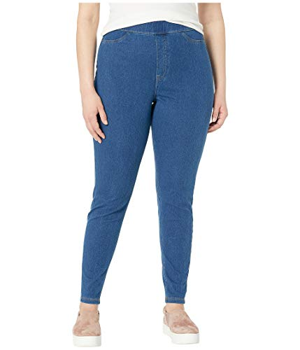 (HUE Women's Plus Size Curvy Fit Denim Jean Leggings, Medium Wash 3X)