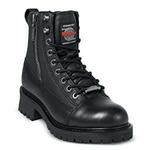 Milwaukee Motorcycle Clothing Company Accelerator Leather Women's Motorcycle Boots (Black, Size 7C)