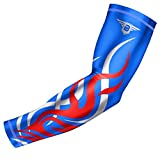 Bucwild Sports Flame Compression Arm Sleeve Youth/Kids & Adult Sizes - Baseball Basketball Football Running - UV/Sun Protection Cooling Base Layer Pain Relief (Royal Blue - Youth Small)