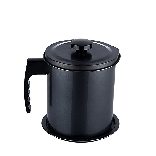 Oil Pitcher (Oil Storage Grease Keeper, Grease Strainer Pot Grease Container with Mesh Strainer (1.6 L-B))